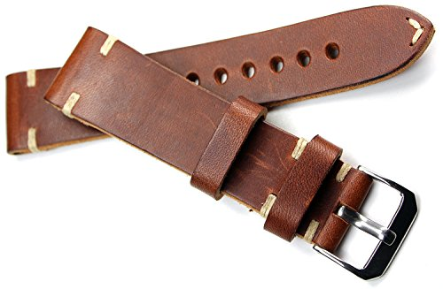 22mm RIOS Handarbeit LEDERBAND Weiße Naht 22/20mm BAND Retro Look quality STRAP braun BS Top Qualität (Watch 22mm Leder Bands)