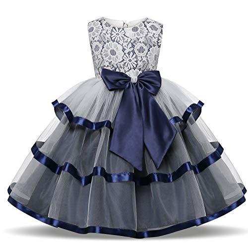 TTYAOVO Blumenmädchen Hochzeitskleid Bowknot Princess Pageant Kleider Größe 6-7 Jahre Deep Blue -