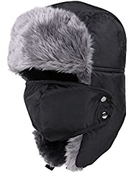 Invierno Trapper Sombrero de caza con máscara con orejeras, Negro