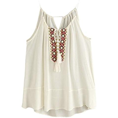 camisa de las mujeres, FEITONG La borla del lazo del cuello de la blusa bordada Cami tapas del tanque de la camiseta