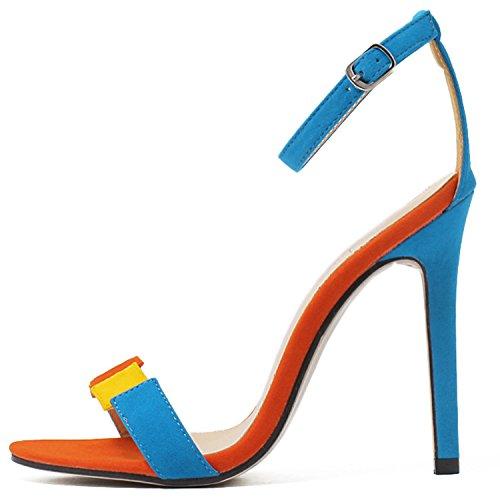 Oasap Damen Offen Knöchelriemchen Stiletto Sandalen Blue