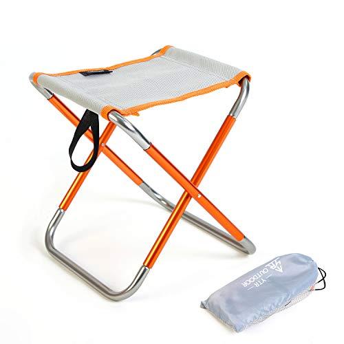 YTR OUTDOOR Campinghocker Klapphocker Falthocker Camping-Stuhl für Unterwegs Camping Garten und Indoor, klappbar tragbar und leicht, orange-grau (290g, 25*22,5*27 cm)