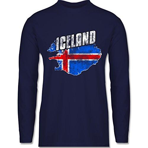 Shirtracer Fußball-WM 2018 - Russland - Iceland Umriss Vintage - Herren Langarmshirt Navy Blau