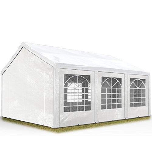 Hochwertiges Partyzelt 4x6 m Pavillon Zelt 240g/m² PE Plane Gartenzelt Festzelt Bierzelt Wasserdicht! weiß