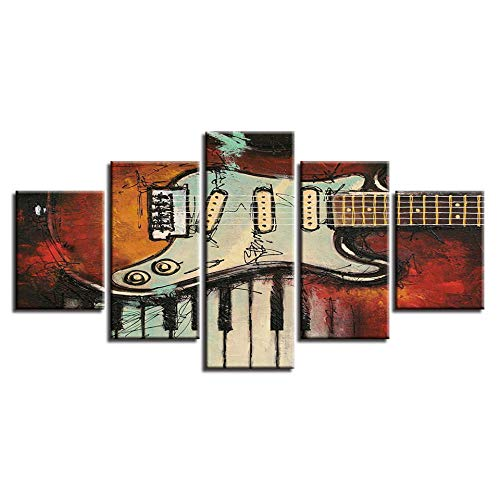 TMMTO Leinwandbild 5 Teilig Modulare Dekor Zimmer Wandmalereien Musikinstrumente Gitarre Und Klaviertasten Bilder Leinwand Hd Drucke Kunst Poster Rahmen-A