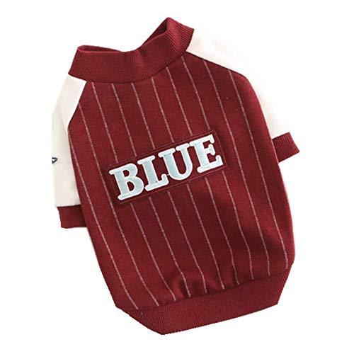 ZTMN Pullover Hund Haustier Kleidung Hund gestreiften Baseball Uniform Baumwolle Stretch Puppy Wei Kleidung Kleidung für Hunde (Farbe: Rot, Größe: XXL) -