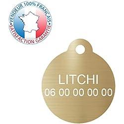 GRAVURE CONCEPT Médaille pour Chien et Chat | Médaille gravée Personnalisable | 1 à 2 Lignes (Or, Rond)