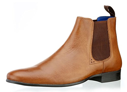 Red Tape Mens Wick Pointed Toe Black Leather Pull On Derby Chelsea Boots