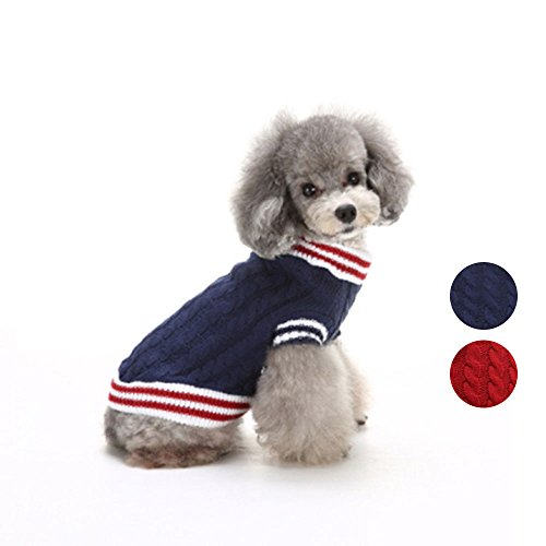 2 Muster Klassische gestrickte Hundepullover, Urlaub Strickwaren Oberbekleidung Haustier Kleidung, Hund Weste Bekleidung für kleine Hunde von HongYH (Plaid Holiday Pyjama)