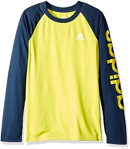 Grands garçons adidas Climalite' Long Sleeve Tee, Choc Slime/Collegiate Navy, Moyen/10-12
