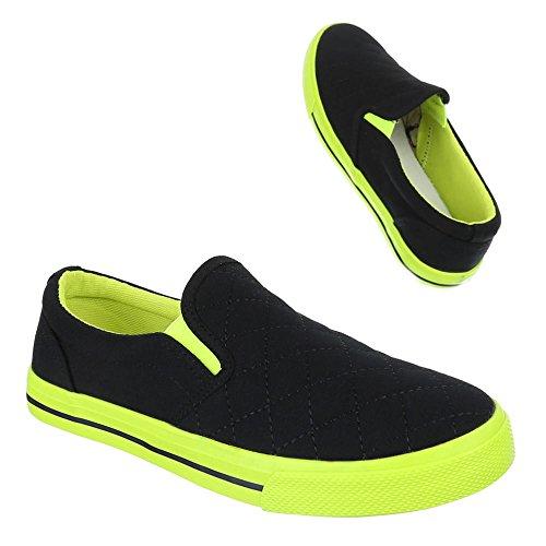 Damen Schuhe, H537, HALBSCHUHE SLIPPER Schwarz