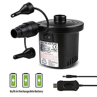 Deeplee Pompe à Air Électrique, 2 en 1 Rechargeable Gonfleur/Degonfleur Electrique Pompe À Air Portable Rapide Gonfleur Électrique avec 3 Buses pour Matelas Gonflable,Un Adaptateur USB 5V Inclus
