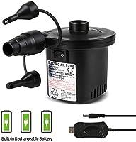 Deeplee Elektrische Luftpumpe USB Luftmatratze Pumpe, 2 in 1 Elektropumpe Power Pump Inflator Deflator mit 3 Luftdüse...