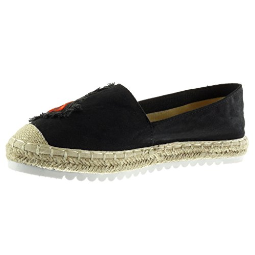 Angkorly Damen Schuhe Espadrilles Mokassin - Slip-on - Sneaker Sohle - Fantasy - Bestickt - Seil Flache Ferse 2.5 cm Schwarz