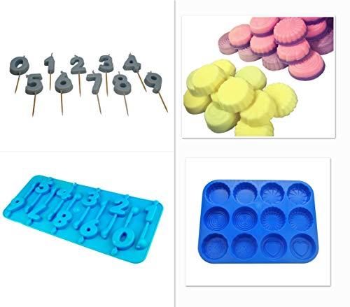 Proops Schnitzmesser-Set 0-Zahl 9Geburtstag Kerze Schimmel und Wax Melt Tart, Seife, Bath Bomb Form Tablett, Swirl, Blume etc. (s7761) versandkostenfrei innerhalb UK -