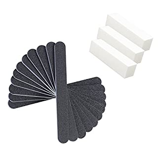 10 PCS Nail File Washable Double Sided 100/180 Emery Board with 3 Piece Buffer Block Set