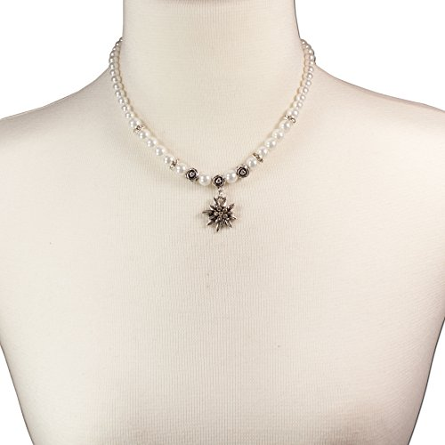 Trachtenschmuck Trachtenset Perlenkette & Edelweissohrhänger (cremeweiß) * Damen Dirndlkette, Perlenkette Oktoberfest - 5