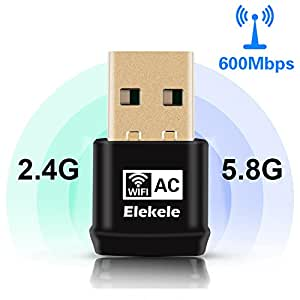 Elekele® Mini USB Wlan Adapter, USB Wifi Adapter 2.4GHz/5.8GHz Dual Band 600Mbit/s Wireless USB Adapter Nano für Windows 10/8.1/8/7/XP/Vista/MAC OS/Linux 2.6