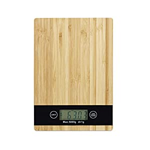 Digitale Küchenwaage Bambus, LCD-Display, Touch, Tara-Funktion, Tragkraft 5 kg, Digitalwaage, BxT: 23 x 16 cm, natur