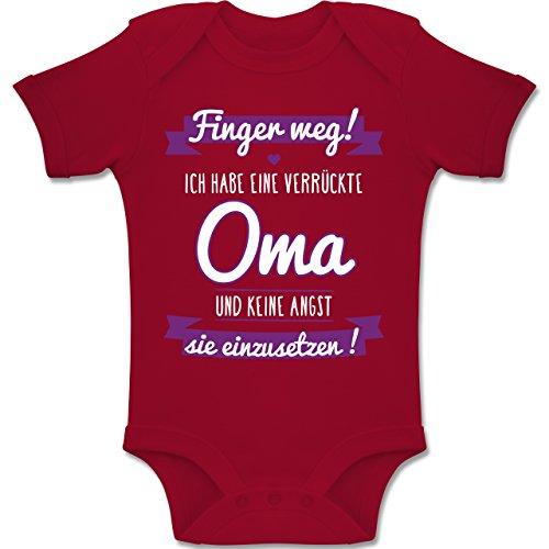 Shirtracer Sprüche Baby - Ich Habe eine Verrückte Oma Lila - 1-3 Monate - Rot - BZ10 - Baby Body Kurzarm Jungen Mädchen (Beste Kleidung)