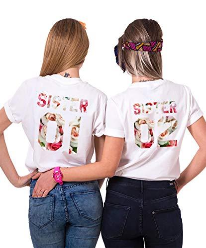 Sister Shirts Best Friends T-Shirts BFF T-Shirt für Zwei 2 Mädchen BFF Oberteile BFF Geschenke 2 Stücke