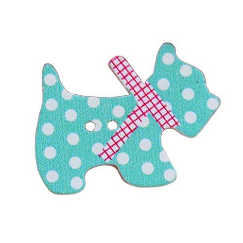 Botones - TOOGOO(R)50 piezas botones de coser de madera de dibujos animados de animales(perros)