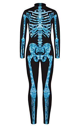 URVIP Jungen Mädchen Halloween Unheimlich Gespenstisc Skelett Jumpsuit Ganzkörperanzug Karneval Verkleidungsparty Cosplay Kostüm Overalls BJQ-005 S (Unheimliche Halloween-kostüme Für Frauen)