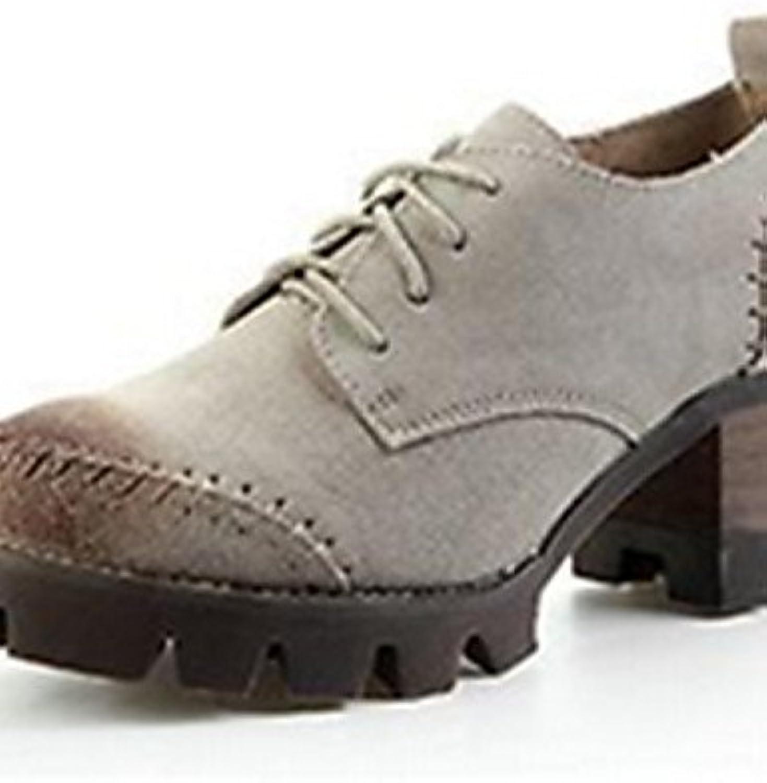NJX/ Zapatos de mujer - Tacón Robusto - Punta Redonda - Oxfords - Casual - Semicuero - Beige / Caqui , khaki-us8...