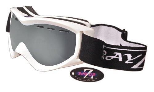 Rayzor professionnels UV400 doubles lensed ski / snowboard Lunettes, avec un cadre Blanc et un brouillard Anti enduits, ventilés fumé miroir anti-éblouissement large clarté de vision Lens.
