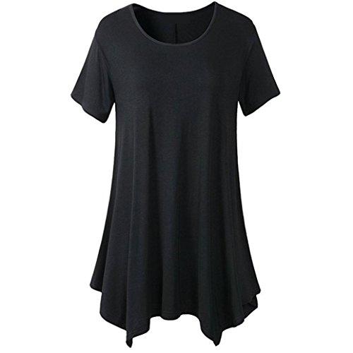 OVERDOSE Damen Sommer Solide Kurzarm Casual T-Shirt Oberteile Bluse Frauen O-Ansatz unregelmäßiger Rand Lose Beiläufige Tops(Schwarz,46 DE/XXL CN) -