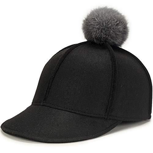 FDBQC Frauen Filz Baseball Cap Pompom Elegant Ausgestattet Reitsport Caps Schwarz Grau