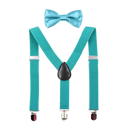 HANERDUN Unisex Hosenträger mit Fliege für Jungen und Mädchen, Befestigung mit drei Kleiderclipse am Hosenbund möglich (Grün Kinder Jeans)