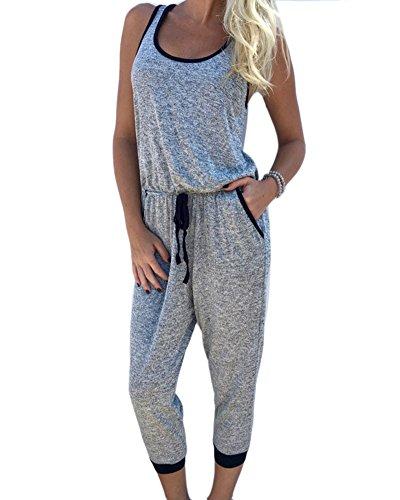 Jumpsuit Damen IHRKleid® Ärmellos Weste Verbunden Kurze Hosen Gürtel-Serie Overall (M, Grau) (In Der Taille Pailletten-gürtel Elastischer)