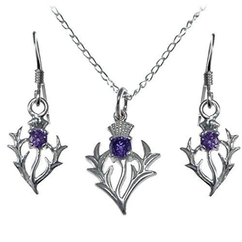 Silberner Amethyst Distelanhänger und Ohrringe schottisches Geschenkset