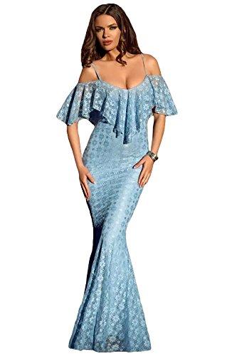 Neue Damen Spaghetti-Trägern Rüschen Schulter Licht Blau Meerjungfrau Kleid Größe L UK 12 (Licht Spaghetti)