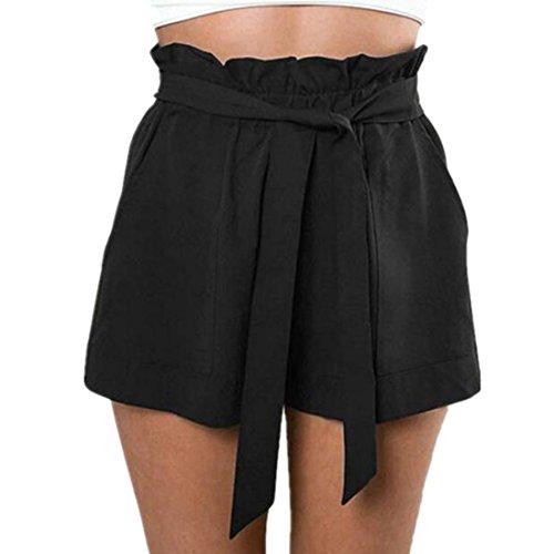 Amlaiworld donne casual design sciolto pantaloncini a vita alta con cintura (nero, m)