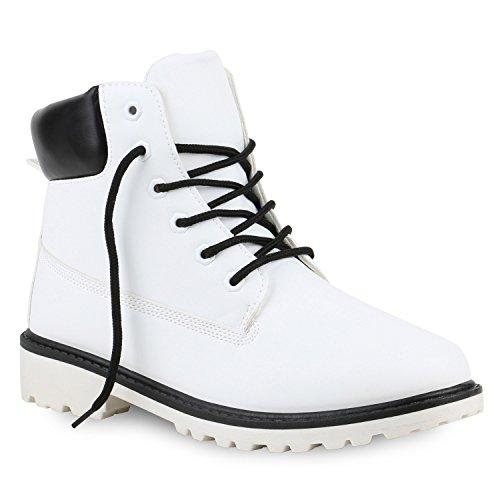UNISEX Damen Herren Worker Boots Outdoor Schnürstiefel Schuhe 122245 Weiss Schwarz 42 | Flandell® (Schwarze Und Weiße Stiefel)