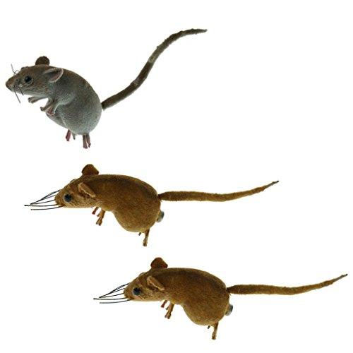 Desconocido 3 x Ratones realistas Adorno de ratón, Cuchara de Juguetes, estatuas de Animales, Miniatura, jardín, Hierba, árbol de césped, Escultura para decoración del hogar, Regalo