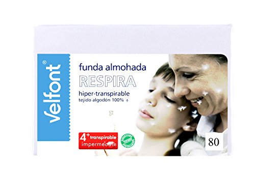 Velfont Funda de Almohada Respira 80cm. Hiper-Transpirable, Impermeable. Tejido de algodón orgánico...