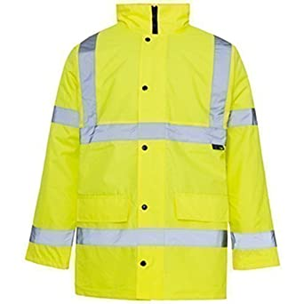 Hi Viz 3/4 Length Parka Reflective Tape Waterproof Quilted Work ...