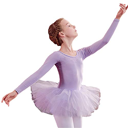 (Tanzkostüm - Mädchen Langarm Ballet Skinny Kleid Tanzkleid Tutu Rock Ballerina Kostüm (Farbe : Purple, größe : 150CM))
