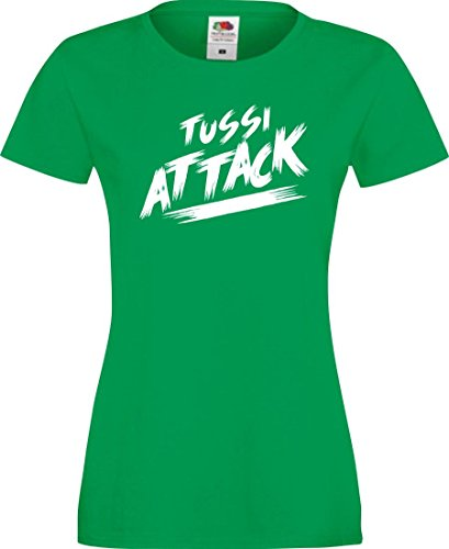 Shirtinstyle Lady T-Shirt Tussi Attack,Kelly, XXL