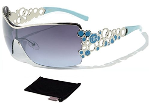 DG Eyewear Women's Designer Sunglasses - Full UV400 Protection - Women Fashion Turquoise Oversize Sunglasses - Model : DG Vienna With FREE Pouch