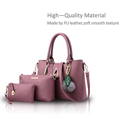 Nicole & Doris New Fashion 3pcs Borsa Tracolla Donna Crossbody Tote Messenger Morbida Pu Grigio Viola