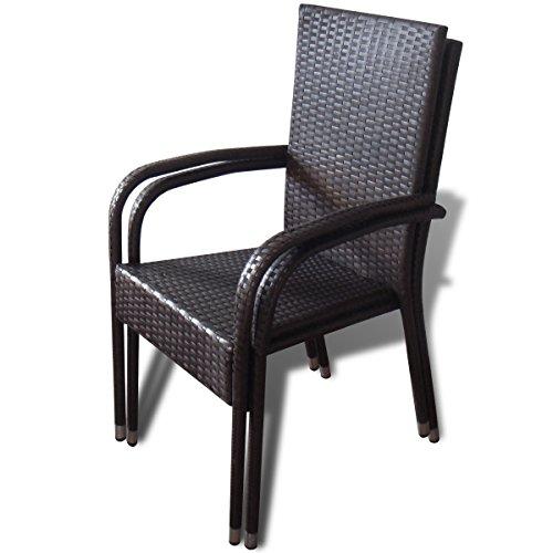vidaxl 2x poly rattan gartenm bel gartenst hle. Black Bedroom Furniture Sets. Home Design Ideas