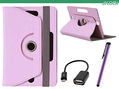 Jkobi Combo of Tablet Book Flip Flap Case Cover With OTG Cable & Stylus Pen Compatible For iBall Slide WQ32 -Baby Pink  available at amazon for Rs.265