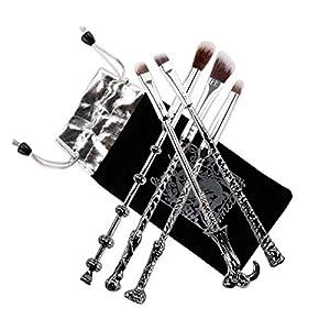 Brocha de maquillaje, varita mágica, juego de regalo de 5 piezas con cerdas de pelo de aspecto elegante, color plateado y negro