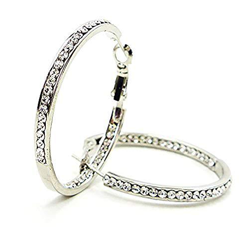 Evil Wear Damen Ohrringe Silber Creolen der Oberklasse mit weissen Swarovski Steinen (Ab Stein Ohrringe)