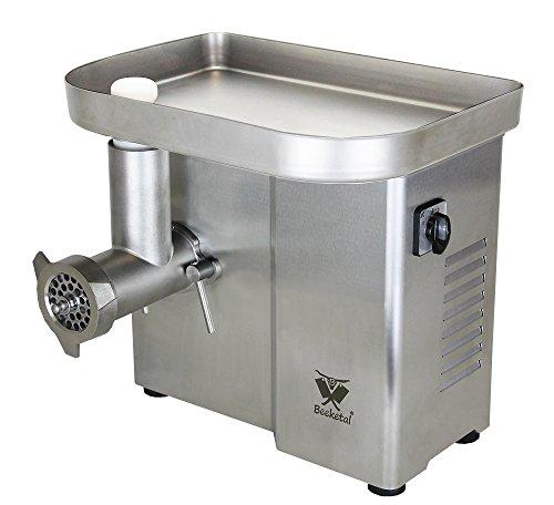 Beeketal \'FW550P\' Industrie Fleischwolf für bis zu 150 kg/Std. Durchsatz, direktübersetzer 550W Motor mit ölgelagertem Getriebe und Rückwärtsgang, inkl. 2 Messer, 3 Lochscheiben, Fleischstopfer