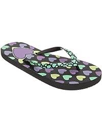FLOSO® Kinder Mädchen Flip Flops mit Herzmuster